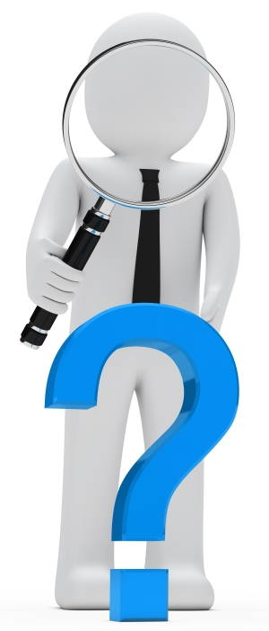 businessman look with magnifying glass question mark